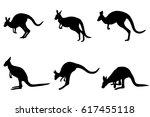 kangaroos silhouettes...   Shutterstock .eps vector #617455118