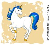 cute comic unicorn | Shutterstock . vector #617471759