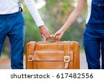 photo of cute couple holding... | Shutterstock . vector #617482556