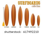 surfboards collection isolated...   Shutterstock .eps vector #617492210