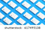 documents collection on a blue... | Shutterstock . vector #617495138