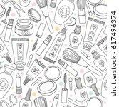 makeup cosmetics tools and... | Shutterstock .eps vector #617496374