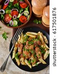 homemade penne pasta with sauce ...   Shutterstock . vector #617501876