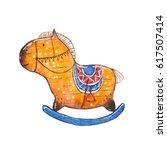 watercolor rocking horse....   Shutterstock . vector #617507414