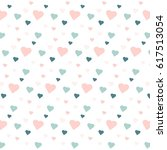 blue and pink hearts on white ... | Shutterstock .eps vector #617513054