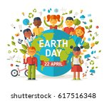 boys and girls with earth... | Shutterstock .eps vector #617516348