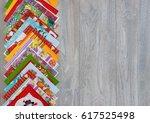 multicolored paper napkins.... | Shutterstock . vector #617525498