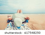 leisure in summer   young women ... | Shutterstock . vector #617548250