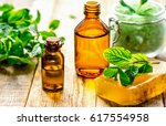 organic cosmetics with herbal... | Shutterstock . vector #617554958