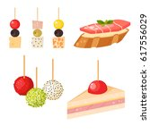 various meat canape snacks... | Shutterstock .eps vector #617556029