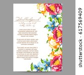 invitation with floral... | Shutterstock .eps vector #617569409