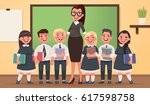 teacher and pupils of primary... | Shutterstock .eps vector #617598758