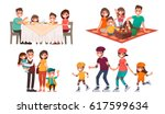 set of family leisure. lunch at ... | Shutterstock .eps vector #617599634