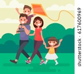 happy family walks outdoors and ... | Shutterstock .eps vector #617600969