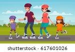 happy family skating on roller... | Shutterstock .eps vector #617601026