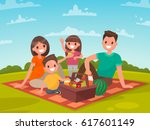 happy family on a picnic. dad ... | Shutterstock .eps vector #617601149
