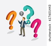 businessman with question mark... | Shutterstock .eps vector #617601443