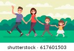 fun family walking in the park. ... | Shutterstock .eps vector #617601503
