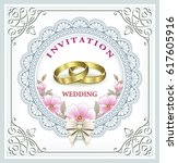 wedding invitation with... | Shutterstock .eps vector #617605916