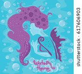 stylized mermaid with long...   Shutterstock .eps vector #617606903