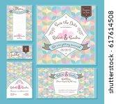 set of wedding cards vector... | Shutterstock .eps vector #617614508