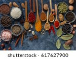 various indian spices in wooden ... | Shutterstock . vector #617627900