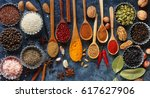 various indian spices in wooden ... | Shutterstock . vector #617627906