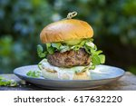 lamb burger with pickled... | Shutterstock . vector #617632220