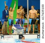 Small photo of RIO DE JANEIRO, BRAZIL - AUGUST 13, 2016:USA Men's 4x100m medley relay team Cory Miller (L), Michael Phelps, Ryan Murphy and Nathan Adrian in the pool celebrate victory at the Rio 2016 Olympic Games