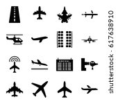 airline icons set. set of 16... | Shutterstock .eps vector #617638910