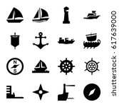 Nautical Icons Set. Set Of 16...