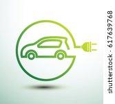 electric car concept green... | Shutterstock .eps vector #617639768