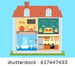 family home in cut. detailed... | Shutterstock .eps vector #617647433
