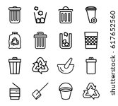 garbage icons set. set of 16... | Shutterstock .eps vector #617652560