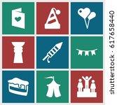 celebration icons set. set of 9 ... | Shutterstock .eps vector #617658440