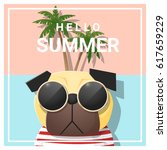 hello summer background with...   Shutterstock .eps vector #617659229
