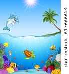 cartoon tropical fish and... | Shutterstock .eps vector #617666654