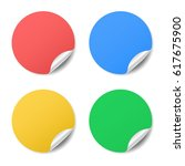 blank color round stickers with ... | Shutterstock .eps vector #617675900