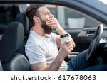 tired man yawning on the front... | Shutterstock . vector #617678063
