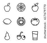 fruit icons set. set of 9 fruit ... | Shutterstock .eps vector #617679770