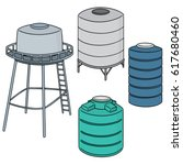 vector set of water storage tank | Shutterstock .eps vector #617680460