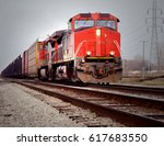 train engines pulling trains... | Shutterstock . vector #617683550