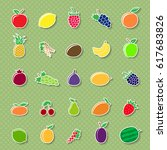set of different fruit icons... | Shutterstock .eps vector #617683826