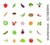 set of different vegetables... | Shutterstock .eps vector #617683844