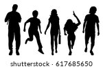 vector silhouette of people on... | Shutterstock .eps vector #617685650