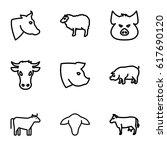 livestock icons set. set of 9... | Shutterstock .eps vector #617690120
