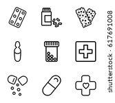 pharmacy icons set. set of 9... | Shutterstock .eps vector #617691008