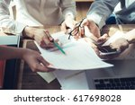 business people working... | Shutterstock . vector #617698028