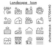 landscape icon set in thin line ... | Shutterstock .eps vector #617700440