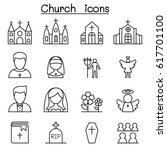 church icon set in thin line... | Shutterstock .eps vector #617701100
